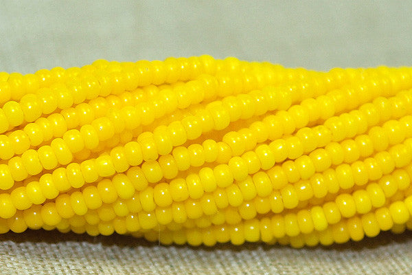 Vintage 18º Bright Yellow opaque Seed Beads, original hank