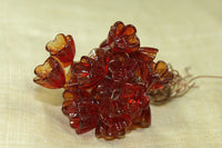 Italian Glass Flowers on Wire - Transparent Cranberry