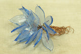Vintage Venetian Glass Leaves, Transparent Soft blue