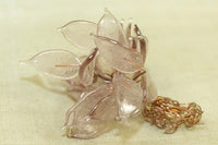 Vintage Venetian Glass Leaves, Transparent Soft Pink