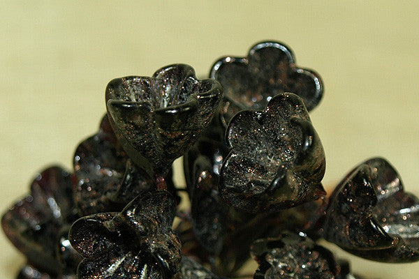 Italian Glass Flowers on Wire - mottled Brown-Black