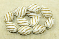 Vintage Czech Glass Beads - 1960s white swirlies