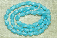 Vintage Czech Glass Beads - Light Aqua Blue Ovals