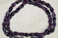 Vintage Czech Glass Beads - Dark Purple w/White Ovals