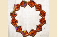 Vintage Czech Glass Beads - 1960s Topaz Faceted Bicones