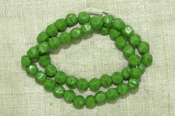 Vintage Czech Glass Beads - Green Opaque English-Cut