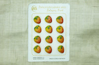 Czech Glass Fruit Buttons; Yellow & Red strawberries