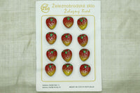 Czech Glass Fruit Buttons; Red strawberries