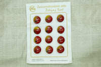 Czech Glass Fruit Buttons; Red Apples