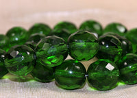 Vintage Czech Glass - Emerald Green Fire Polish
