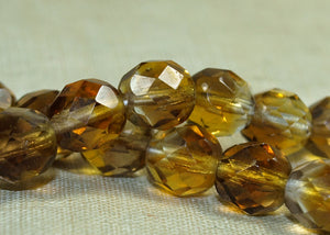 Vintage Amber/Topaz Fire-Polish Czech Beads
