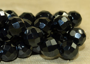 Vintage German Shiny Hematite Glass Beads