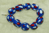 Vintage Japanese Glass Beads - Large Blue Nuggets