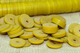 Grungy Yellow 6mm Vinyl Disc Beads