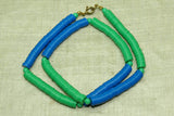 "Vintage Necklace of 80s Plastic ""Vinyl"" Disc Beads, Blue & Green 6mm"