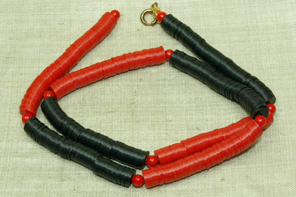"Vintage 80s Plastic ""Vinyl"" Disc Beads, Red & Black 6mm"
