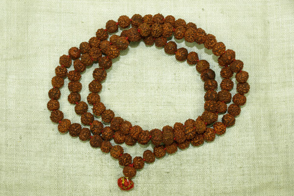 Strand of rudraksha seed beads from India