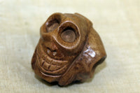 Large Hand carved tri-face wood skull bead