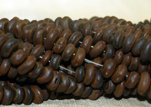 "Wooden ""Coffee Bean"" Beads from Burkina Faso, West Africa"