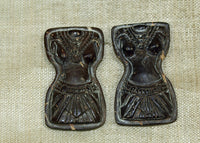 Pair of Small Balinese Female Torsos, Hand Carved Palmwood