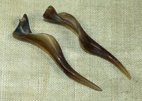 Pair of Small Shell Pendants; Carved Buffalo Horn from the Lou Zeldis Studio