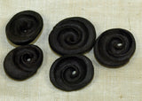 Black Palmwood Kualia Shell-Style Bead; Lou Zeldis Collection