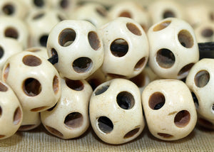 Irregular, Multiple-hole Bone 12mm Bead; Lou Zeldis Collection