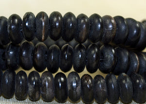 Strand of Black Palmwood Component Beads; Lou Zeldis Collection