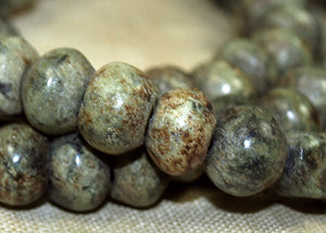 Prayer strand of Green Fossil Beads, Lou Zeldis Collection