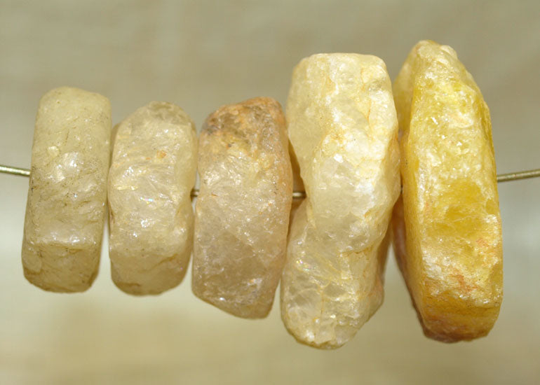 Set of Five Ancient Quartz Beads from Mali; Lou Zeldis Collection