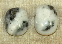 Pair of Moss Agate Cabochons; Lou Zeldis Collection