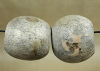 Pair of Large Ancient Greenish Stone Fossil Beads; Lou Zeldis Studio