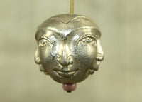 Solid Silver Brass Three-Faced Bead from the Lou Zeldis Collection