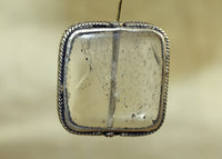 Square Shape Quartz Bezel-set with Silver from Nepal; Lou Zeldis Collection