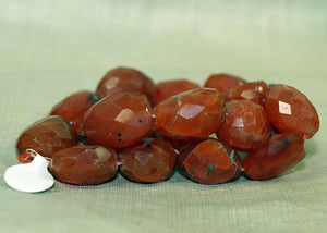 Strand of Large Faceted Carnelian Stone Beads from the Lou Zeldis Collection