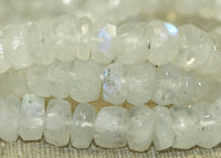 Short Strand of Small Faceted Rainbow Moonstone Rondelles