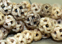 Strand of Hand-Carved Bone Beads; Lou Zeldis Component Collection