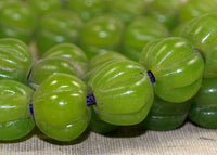 Vintage Greasy Green Fluted Melon Glass Beads; Lou Zeldis Collection