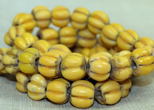 Vintage Yellow Fluted Melon Glass Beads; Lou Zeldis Collection