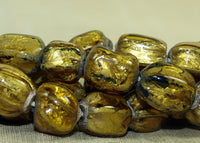 Gold Foil in Glass Beads from Indonesia; Lou Zeldis Components Collection