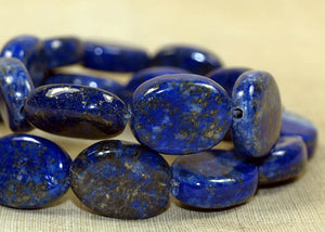 Strand of Large Lapis Oval Beads; Lou Zeldis Component Collection