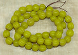 Vintage Greasy Yellow Fluted Melon Glass Beads; Lou Zeldis Collection