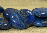 Strand of Smooth Lapis Oval Beads; Lou Zeldis Component Collection