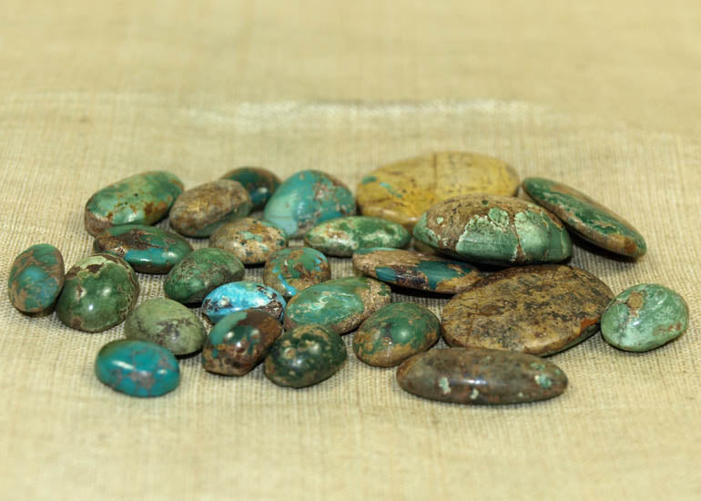 23 grams of Turquoise Cabochons; Lou Zeldis Component Collection