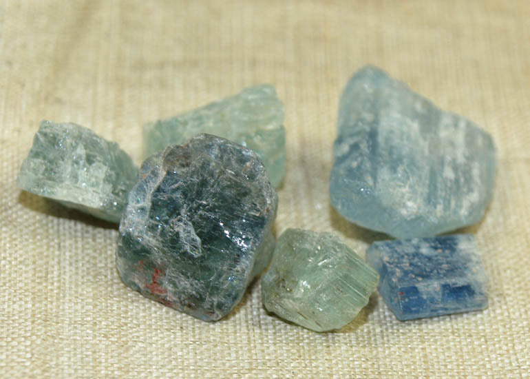 10 grams of Rough, Raw Aquamarine Crystals; Lou Zeldis Component Collection