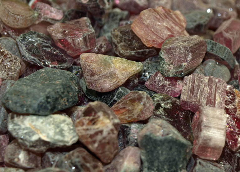 20 grams of Rough, Raw Pink Tourmaline Crystals; Lou Zeldis Component Collection