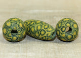 Three Vintage Yellow Indonesian Majapahit Beads; Lou Zeldis Component Collection
