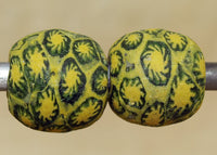Pair of Vintage Yellow Indonesian Majapahit Beads; Lou Zeldis Component Collection