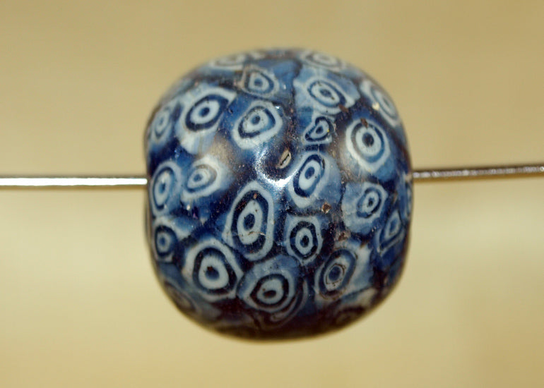 Large Vintage Blue Glass Bead from Indonesia; Lou Zeldis Component Collection
