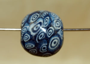 Large Vintage Blue Glass Eye Bead from Indonesia; Lou Zeldis Component Collection